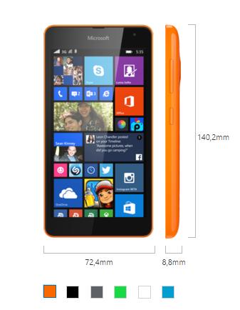 Microsoft Lumia 535 boyutları