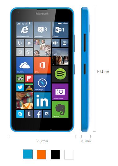 Microsoft Lumia 640 LTE için ayrıntılı özellikler