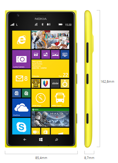 Nokia Lumia 1520 boyutları