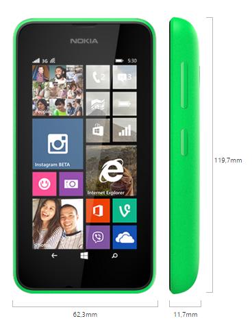 Nokia Lumia 530 boyutları