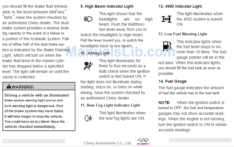 chery gösterge ikaz lambaları anlamları pdf